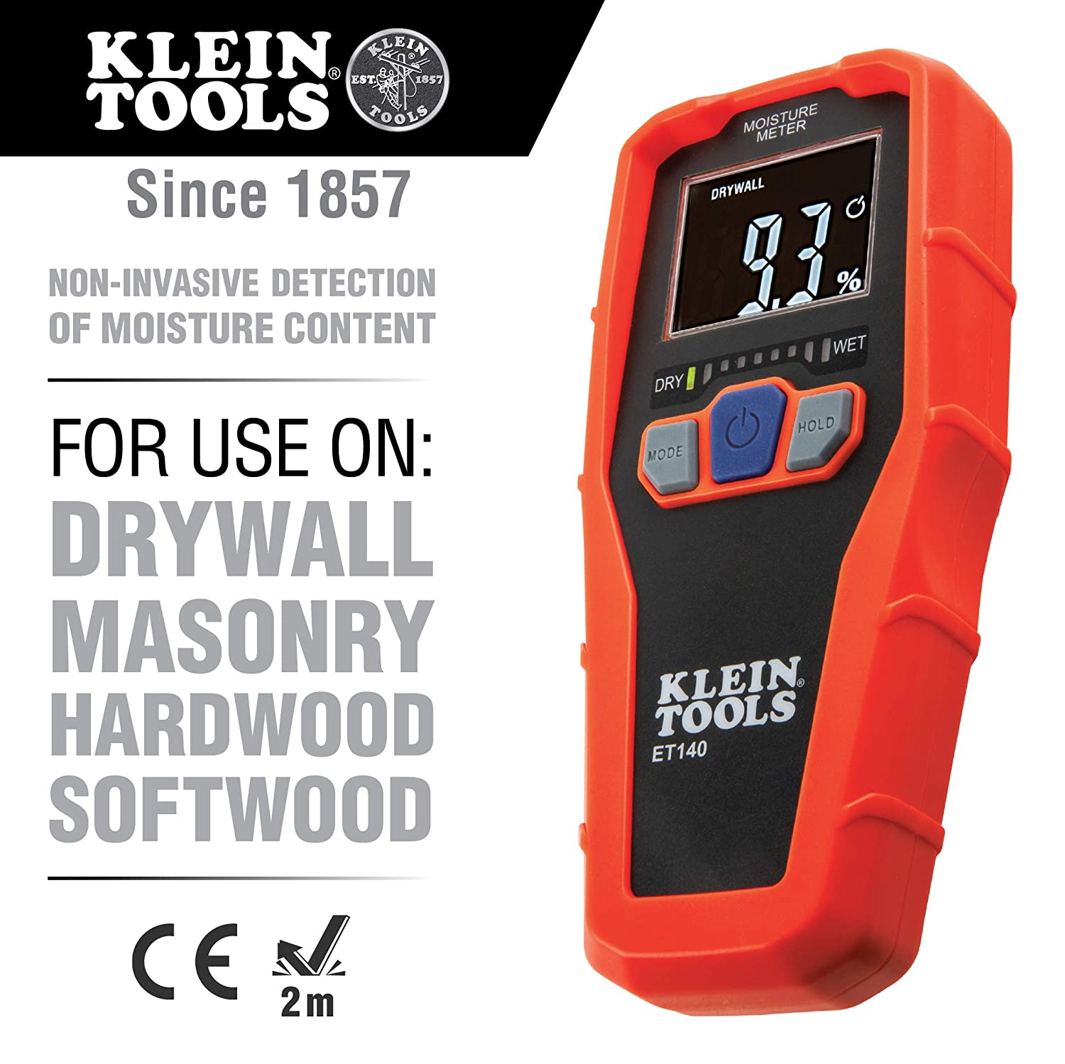 Klein Tools ET140 Pinless Moisture Meter for Non-Destructive Moisture Detection in Drywall, Wood, and Masonry Detects up to 3 4-Inch Below Surface