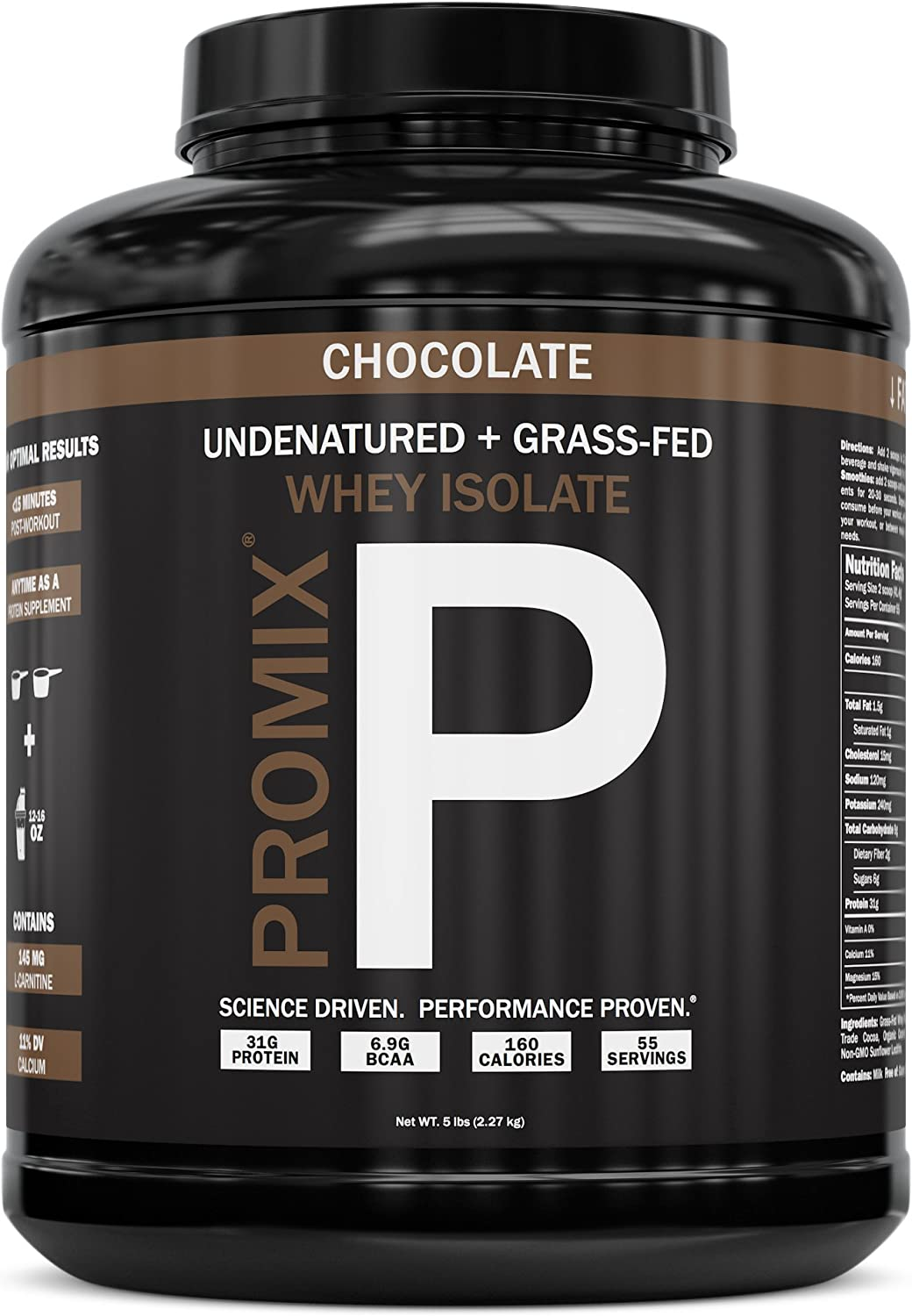 Native Grass Fed Whey Protein Isolate 100 Optimum All Natural Undenatured Non-GMO Gluten-Free Soy-Free Best for Fitness Nutrition Shakes Energy Smoothie Chocolate, 5LB