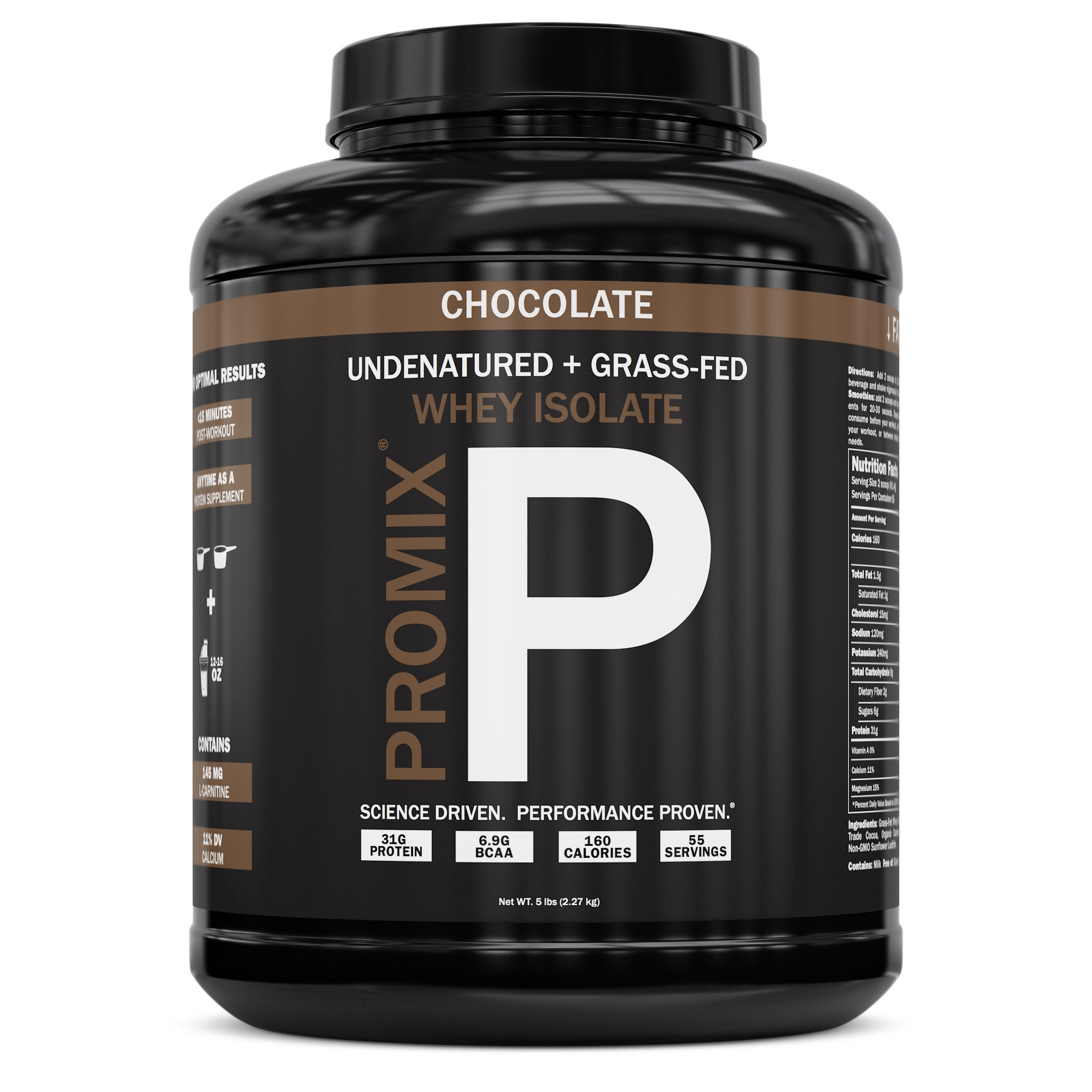 Native Grass Fed Whey Protein Isolate | 100% Optimum All Natural | Undenatured | Non-GMO + Gluten-Free + Soy-Free | ­Best for Fitness Nutrition Shakes | Energy Smoothie (Chocolate, 5LB) by ProMix Nutrition