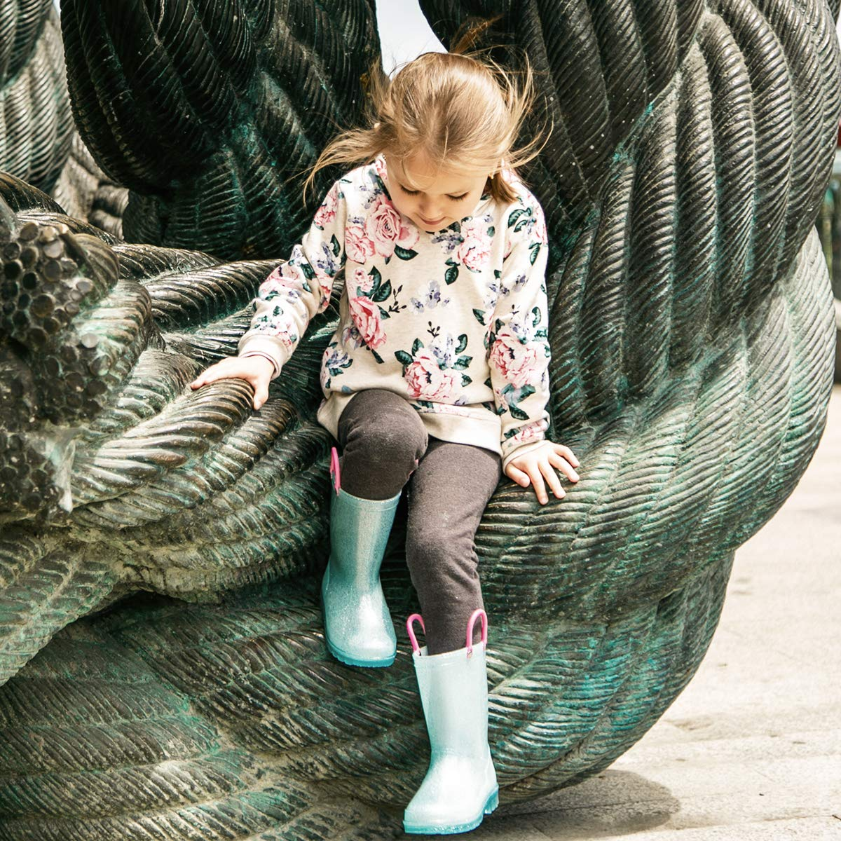 KomForme RPGL054-1M K Light Up Kids Rain Boots Glitter Girl Boots Blue by KomForme (Image #7)
