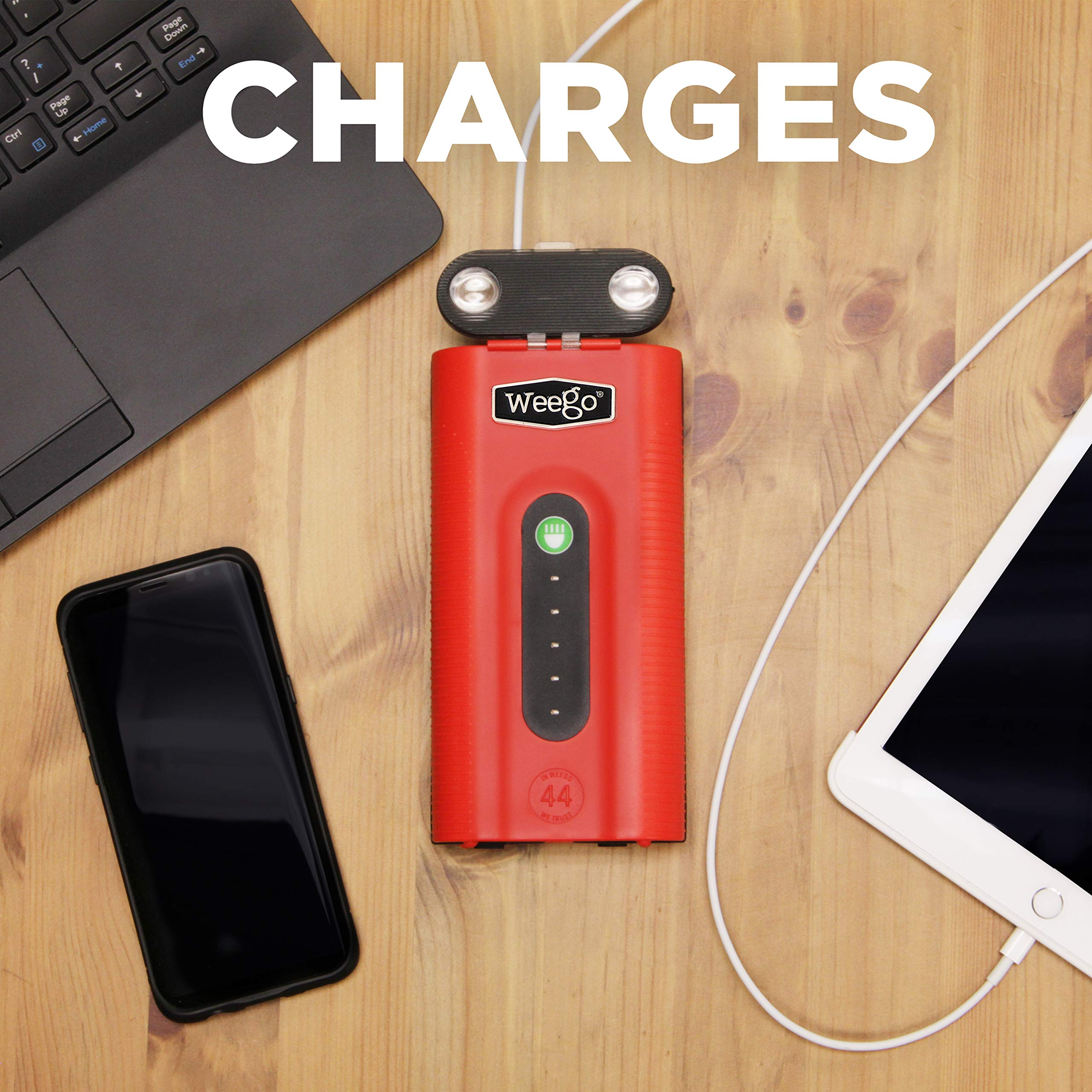 WEEGO 66.1 Jump Starting Power Pack (NEW 2019 Model) 2500 Peak 600 Cranking Amps High Performance Lithium Ion Jump Starter Quick Charges Phones 600 Lumen LED Flashlight Water Resistant by Weego (Image #3)