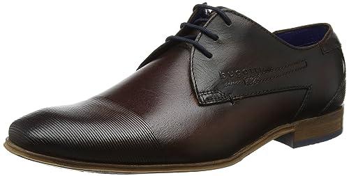 311101082100, Zapatos de Cordones Derby para Hombre, Rojo (Red), 44 EU Bugatti