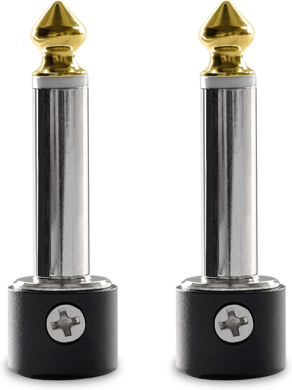 Juego de cables de pedalera sin soldadura Crosby Audio - Paquete de 2 conectores de punta dorada con tornillos magnéticos para pedales de efectos de guitarra y pedales