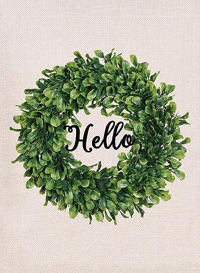 Amazon Com Furiaz Boxwood Wreath Hello Garden Flag Spring