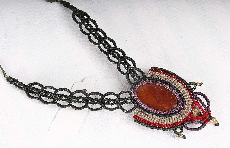 Macrame Red jasper stone Necklace Pendant Handmade Jewelry Bohemian Macrame Necklace Macrame Jewelry Boho Necklace Bohemian