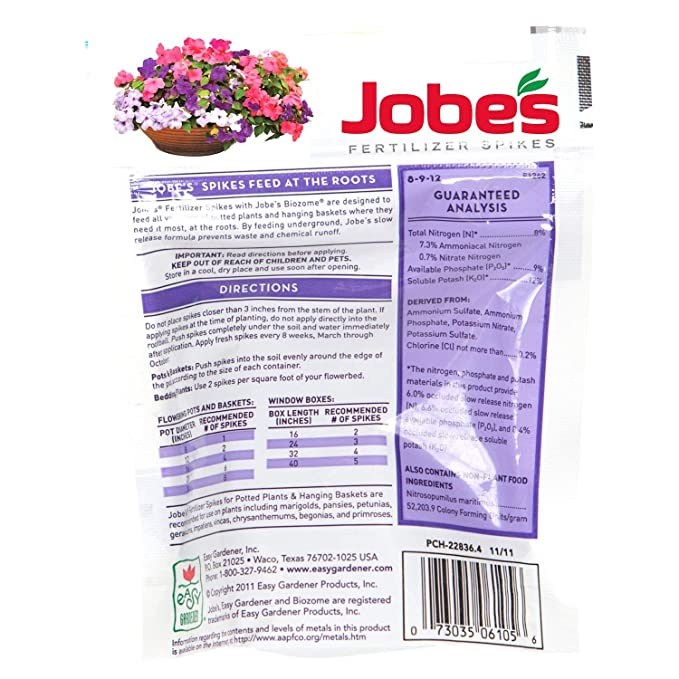Charmant Amazon.com : Jobeu0027s Fertilizer Spikes For Flowering Plants 8 9 12 Time  Release Fertilizer For Hanging Baskets AndPotted Plants, 18 Spikes Per  Package : Slow ...