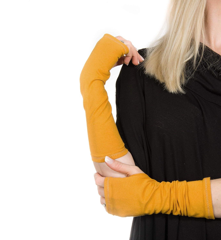 Long Jersey Fingerless Gloves (Mustard Yellow)