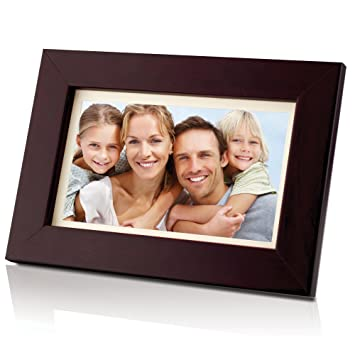 coby dp700wd 7 inch widescreen digital photo frame wood design
