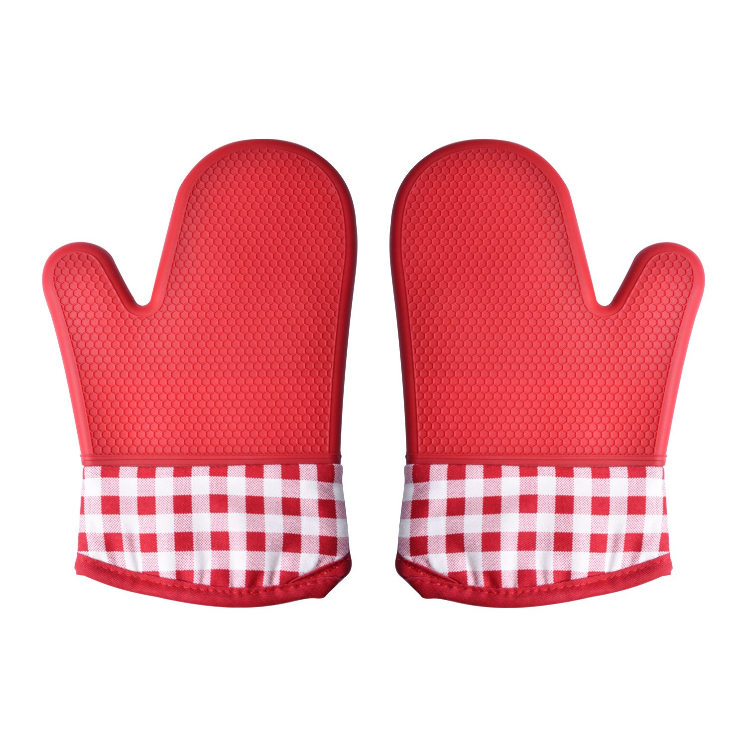 SAVORLIVING Professional Silicone Oven Mitt, Oven Gloves with Quilted Cotton Liner Protective Cuff, Ideal for Holiday Baking Cooking, 1 Pair (Green, Cotton)