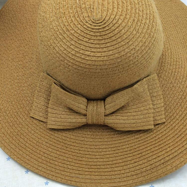 Light Brown Foldable Womens Girls Sweet Bowknot Wide Brim Floppy Straw Sun Hat Beach Cap