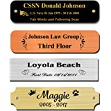 "0.75"" H x 3"" W, Brass Nameplates, Metal Plate, Personalized, Custom Engraved Tag, Name Plaque, Square Rounded or Notched Corn"