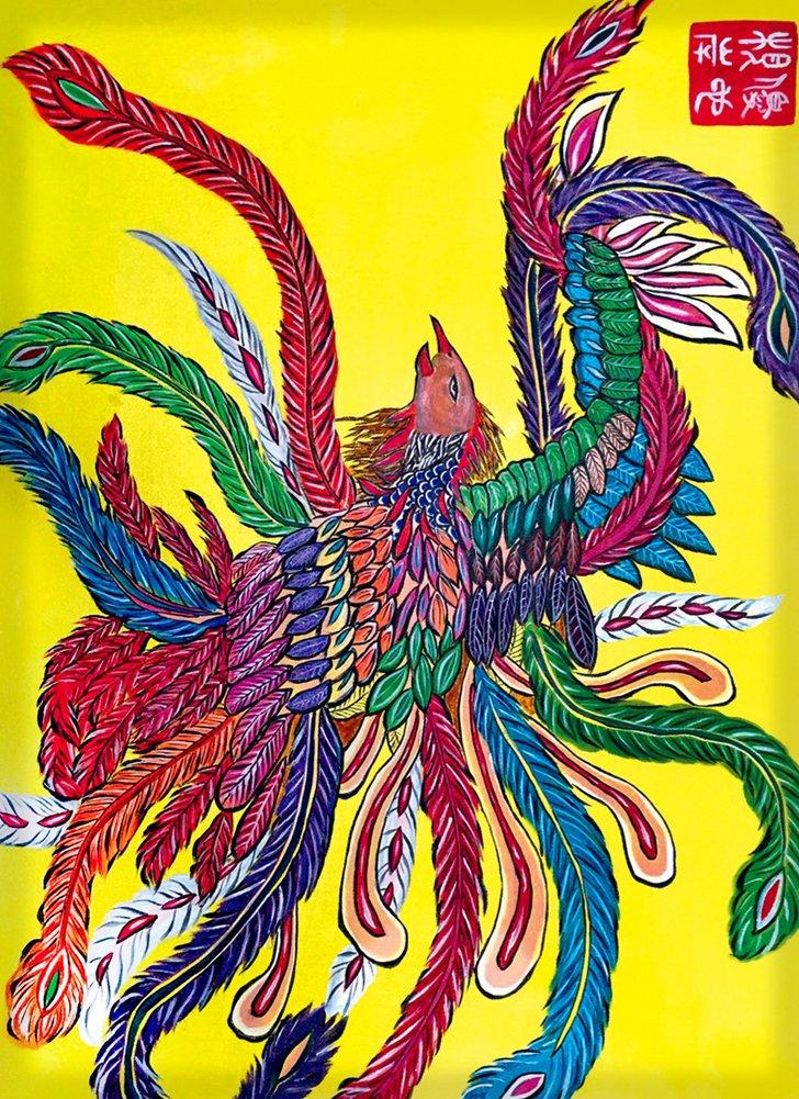 Rectangle Refrigerator Magnet Colorful Feathered Rooster Mural Yuya Negishi YUYART