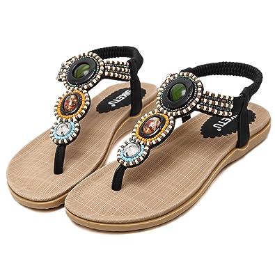 TT Global Frauen Bohemia Sandalen Flats Schuhe Sandalen,Damen Sommer Bohemia Flach Zehentrenner Sandalen, Damen Sandalen Böhmische Sandals Frauen Flach Sommer Strandschuhe