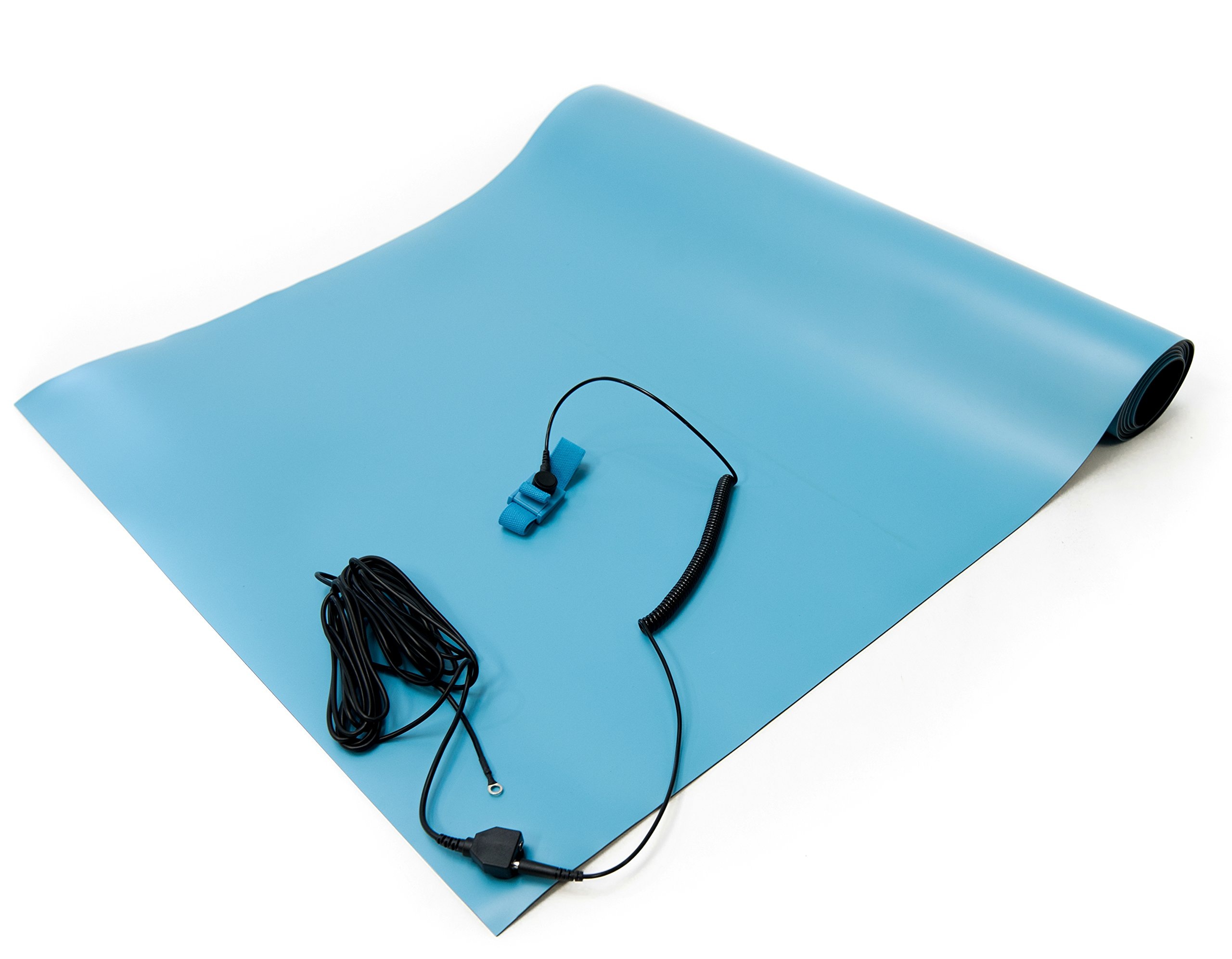 Bertech ESD High Temperature Rubber Mat Kit with a Wrist Strap and Grounding Cord, 18'' Wide x 24'' Long x 0.08'' Thick, Blue