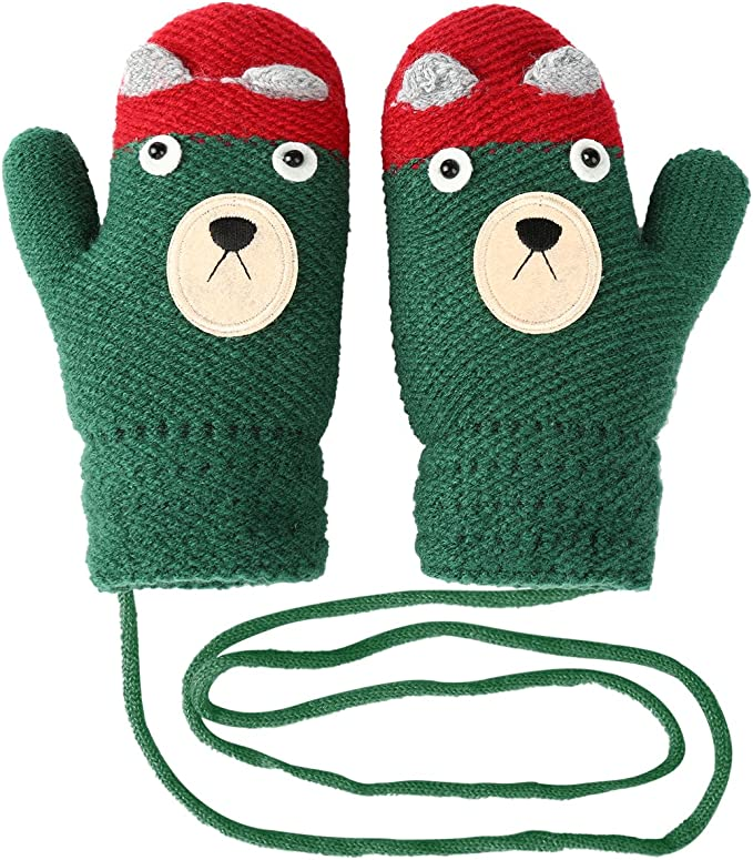 Vbiger Kids Winter Gloves Thickened Knitted Gloves with Anti-lost String,Aged 4-8