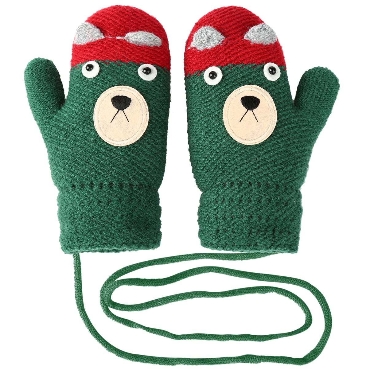 Vbiger Kids Winter Gloves Cartoon Thickened Knitted Mittens with Anti-lost String, Aged 4-8