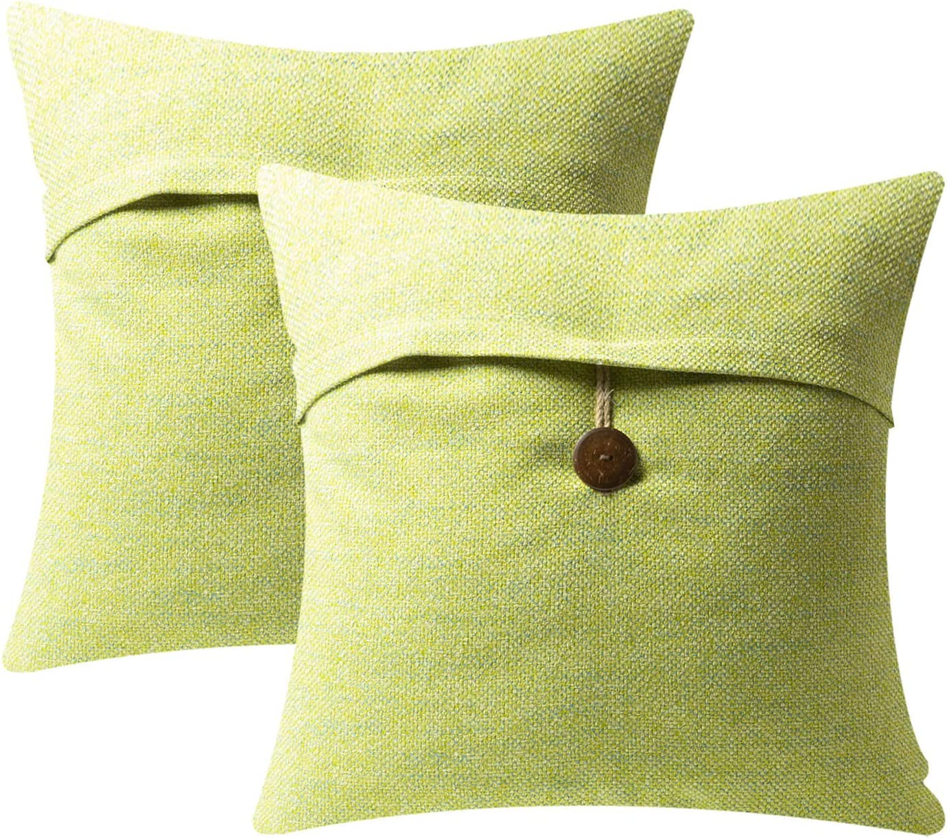 Azume Textured Linen Throw Pillow Covers Set of 2 Decorative Button Up Cushion Case for Couch, Sofa, Chair, Living Room, 18x18, Water Green