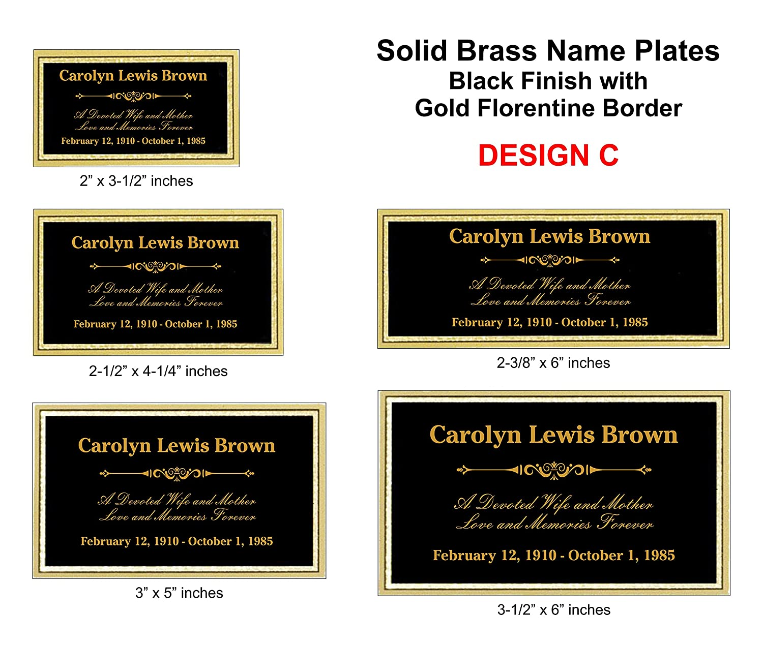 Trophy Plate Customized Engraved Brass Name Plate 2-1//2 x 4-1//4 Urn Plate