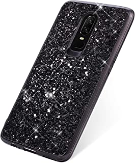SainCat Cover Compatibile con OnePlus 6 Custodia Ultra Slim Morbido Silicone TPU Bling Glitter Antiurto Rigida Cover-Oro