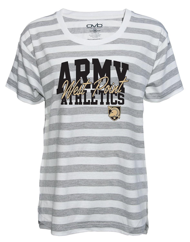 Medium Old Varsity Brand NCAA Army Black Knights Womens Striped Game Day T-Shirt Grey//White
