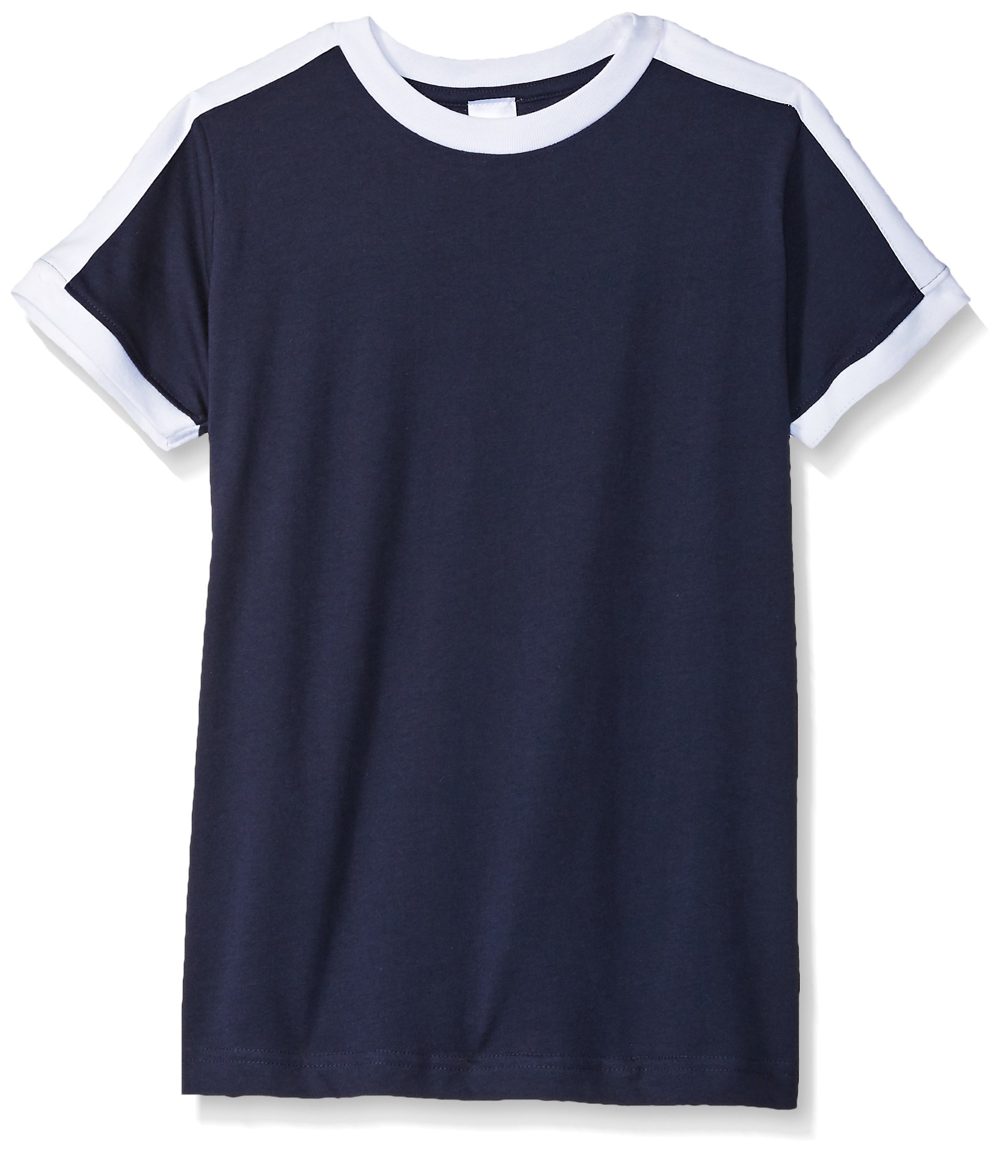 Clementine Big Boys' Youth Soccer Ringer Fine Jersey Tee, Navy/White, XL