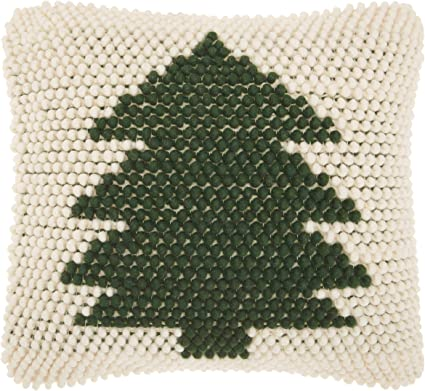 Mina Victory Home Christmas Tree Loops Green Ivory Holiday Throw Pillow, 20