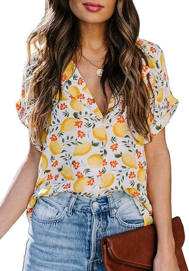 Hailys Damen T-Shirt Print Shirt Short Sleeve Casual Kurzarmshirt Stretch /%