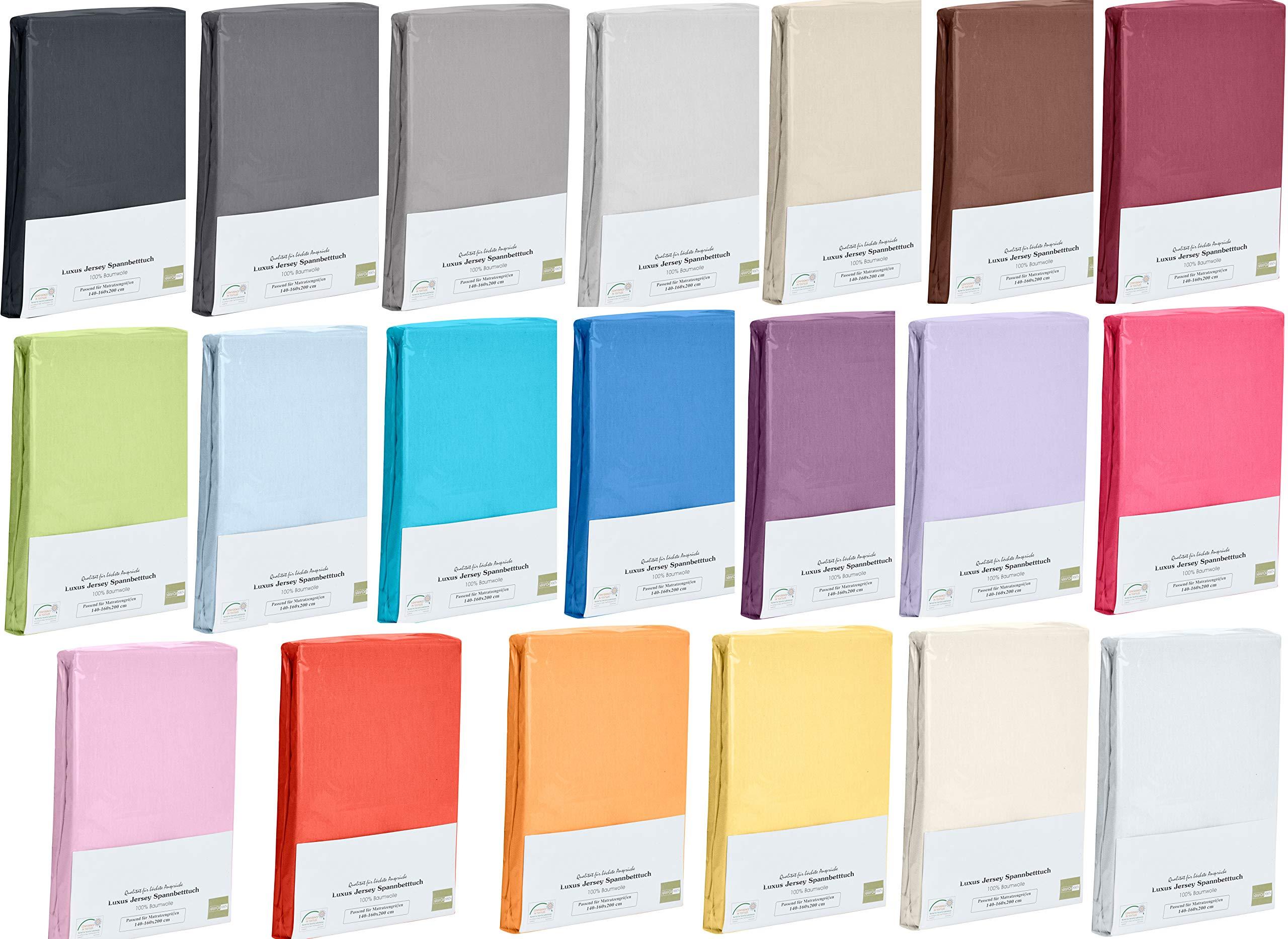Home-Tex© Spannbettlaken Spannbetttuch bis 25 cm Steghöhe | Bettlaken Jersey aus 100% Baumwolle | 140-160x200 cm Royal | ÖKO-TEX STANDARD | Viele Größen und Farben erhältlich