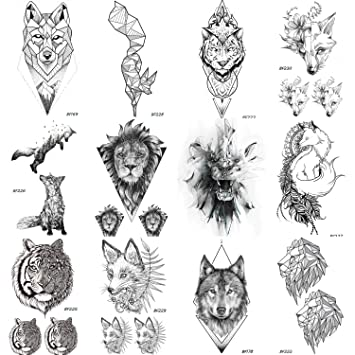 2db51f9b6 12 Pieces/Lot COKTAK Real Tribal Tiger Face Temporary Tattoos For Women and  Men Body