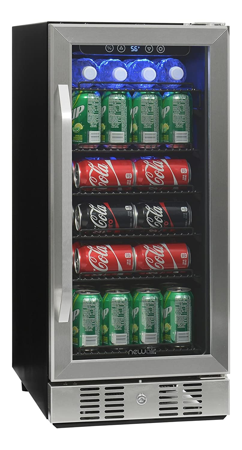 NewAir Built-In Beverage Cooler and Refrigerator, Stainless Steel Mini Fridge with Glass Door, 96 Can Capacity, ABR-960