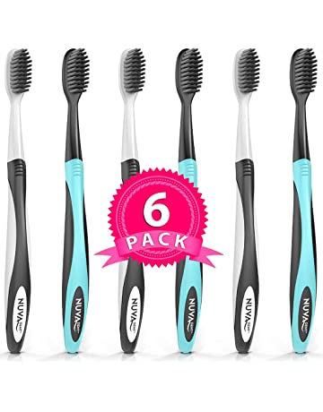 BEST DEAL Charcoal Toothbrush Ultra Soft (6 Pack) - Gentle, Slim Head,
