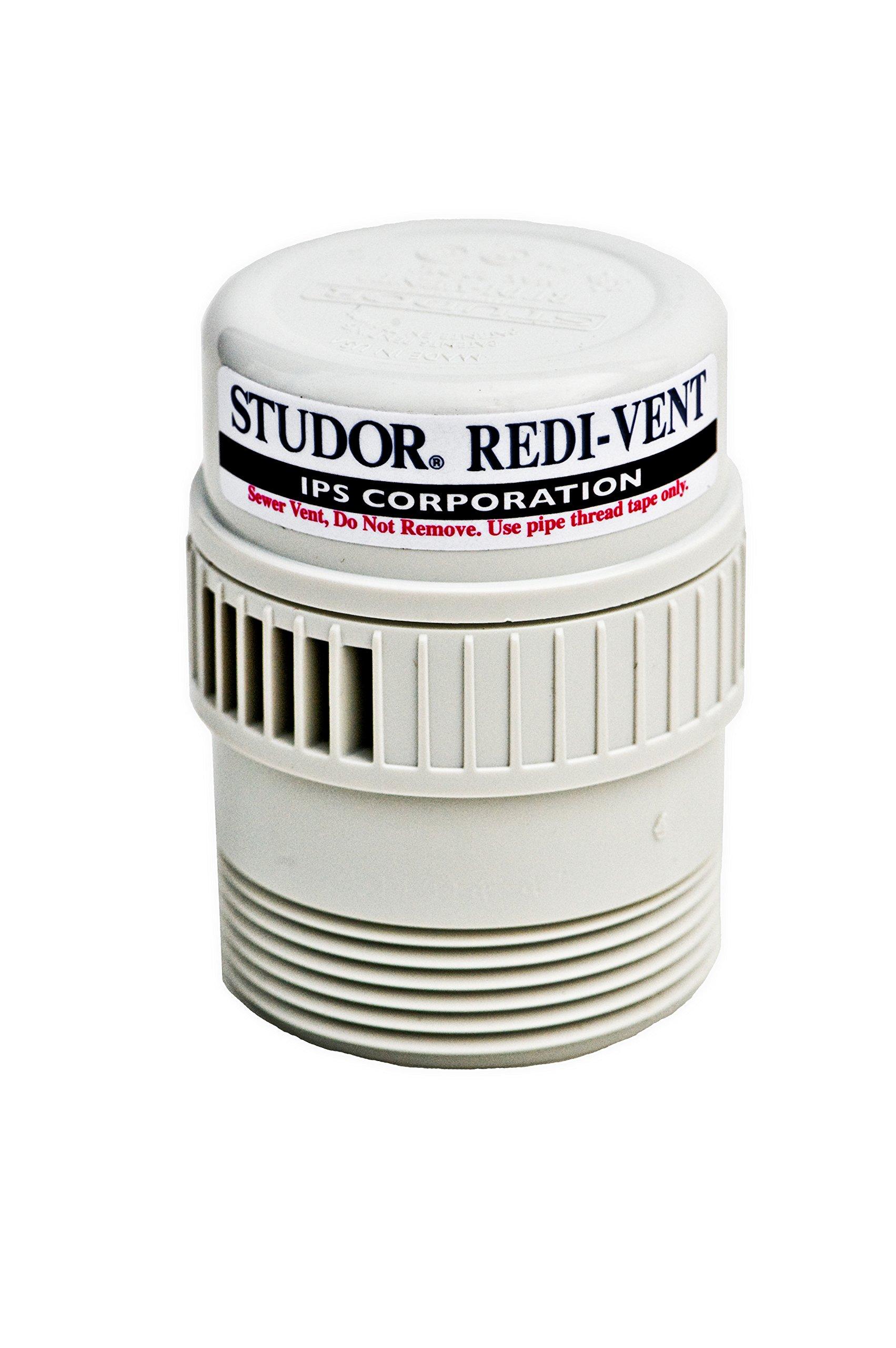 Studor 20346 REDI-VENT Air Admittance Valve, 1-1/2'' or 2'' PVC Adapter, White