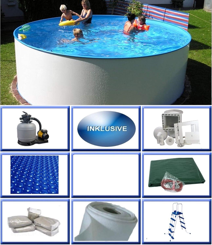 Summer Fun Miami Basic - Piscina redonda de pared de acero (3 x 1,20 m, lámina de 0,4 mm, incluye set de piscina redonda y piscina de pared de acero de 300 x 120 cm)