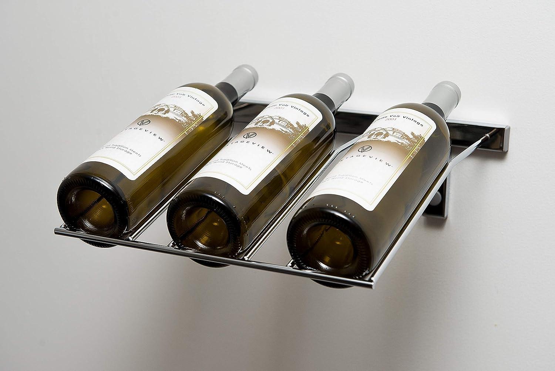 VintageView 3 Bottle Wall Mounting Metal Presentation Wine Rack Satin Black