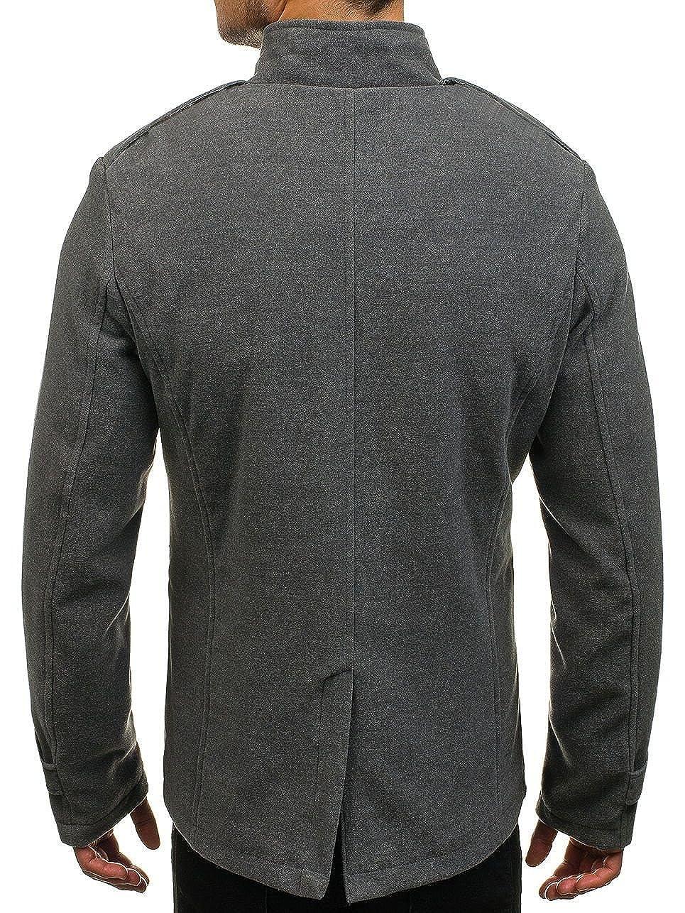 BOLF - Abrigo - Básico - Cuello Mao - para Hombre Gris Large: Amazon.es: Ropa y accesorios