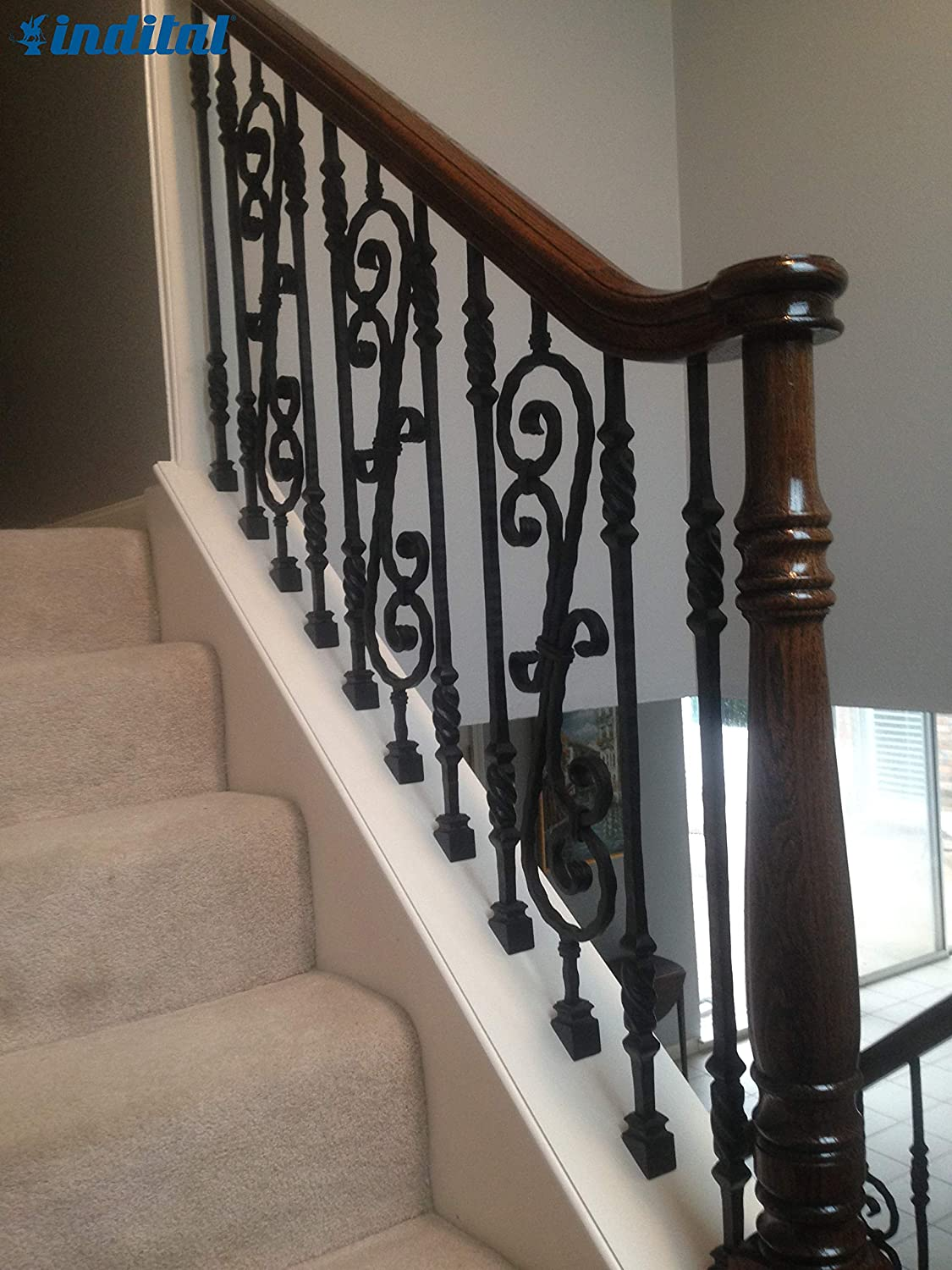Wrought Iron Black Indital PC22-5-0007 Powder Coated Wrought Iron Baluster for Stairs and Railings 44 3//32 H x 5 3//4 W x Scroll 1//2 x 1//4 22 7//16 Plain Double S-Scroll Design