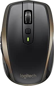 Logitech MX Anywhere 2 Wireless Mouse – Use On Any Surface, Hyper-Fast Scrolling, Rechargeable, for Apple Mac or Microsoft Windows Computers and laptops, Meteorite