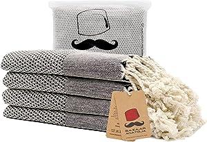 Turkish Hand Towels Set of 4 Acacia Bath Towel 100% Cotton 41x20 Boho Farmhouse Decor Bathroom Towel Light Weight Thin Quick Dry Hand Hair Gym Face Tea Kitchen Dishcloth Set Decorative (Black)