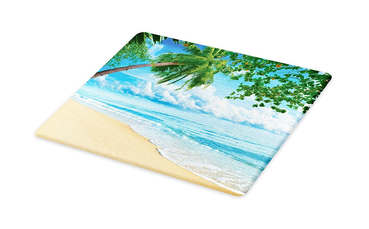 Sandy Tropical Beach in Summertime Sunny Day Seacoast Seascape Horizon Large Size Sky Blue Green Ivory Decorative Tempered Glass Cutting and Serving Board Lunarable Tropical Cutting Board