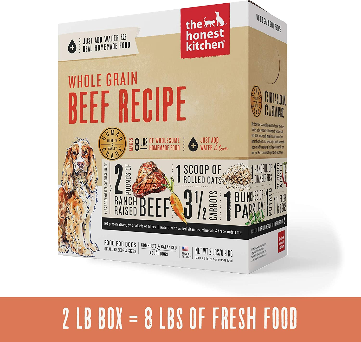 Honest Kitchen Human Grade Dehydrated Organic Grain Beef Dog Food, 2 lb