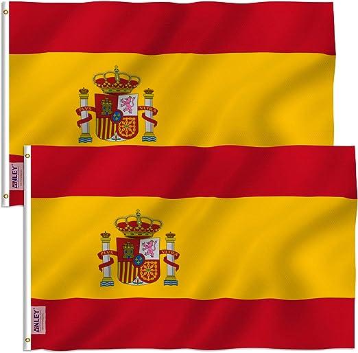Anley Pack de 2 Fly Breeze Bandera de España de 3x5 pies - Color Vivo y Resistente
