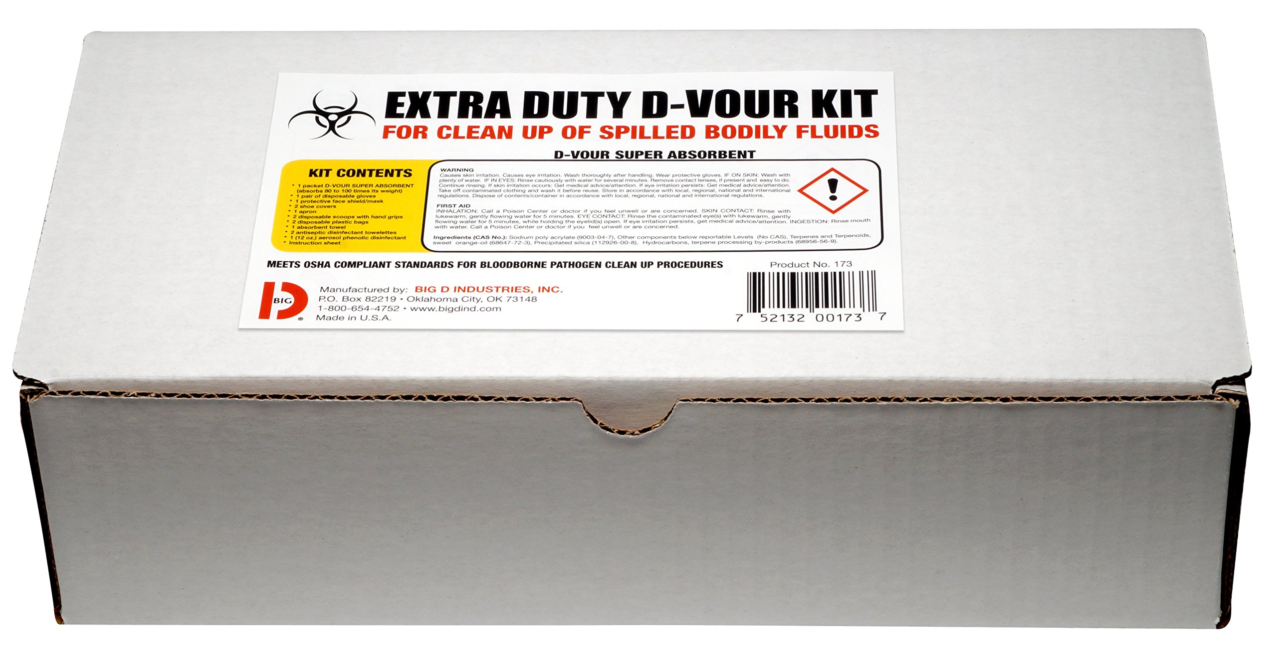 Big D 173 Extra Duty D-Vour Clean-Up Kit for Clean-Up and Disposal of Spilled Bodily Fluids (Pack of 6) - Ideal for use in schools, restaurants, health care facilities, grocery stores