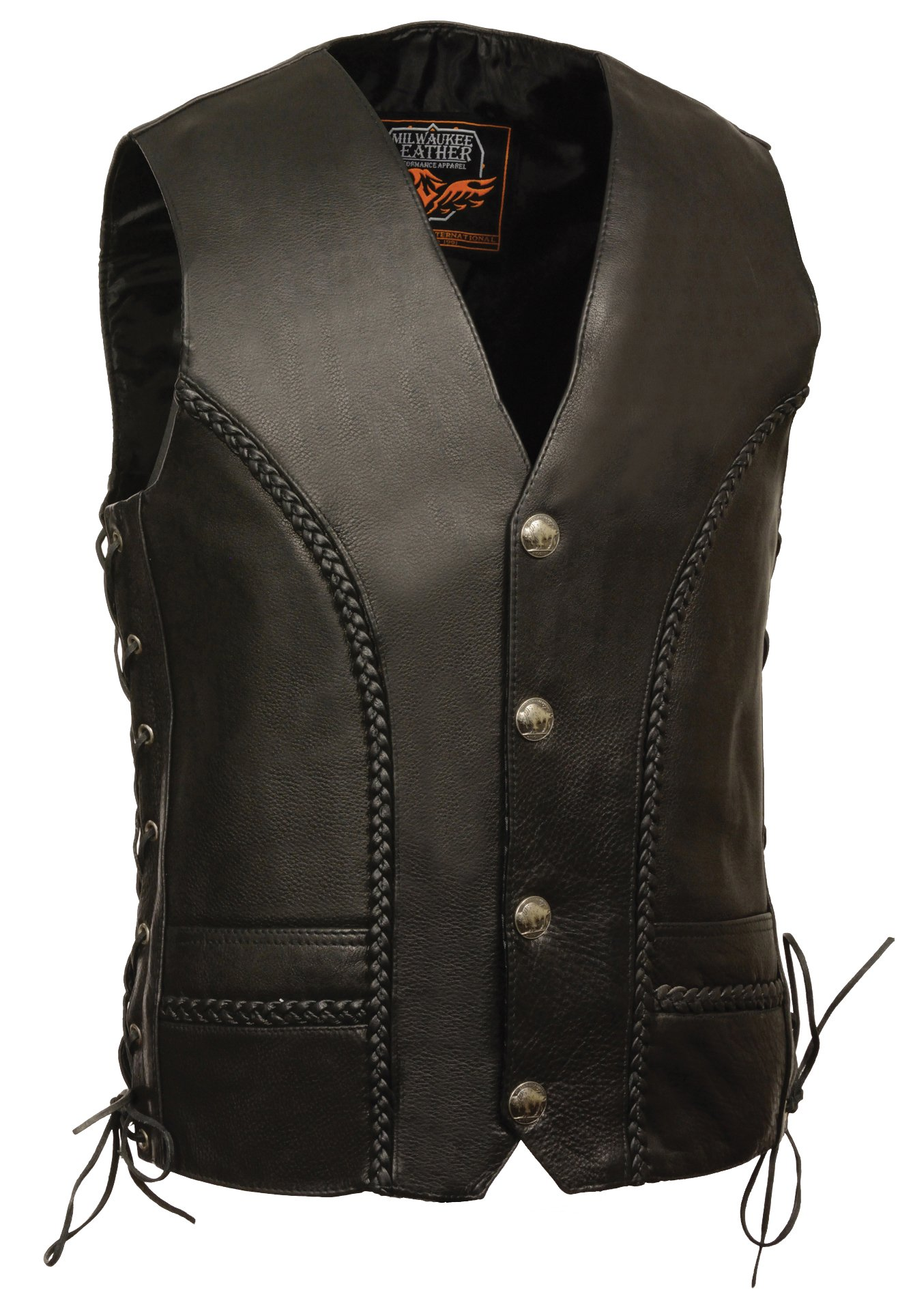 Milwaukee Men's Braided Side Lace Leather Vest (Black, Size 56)