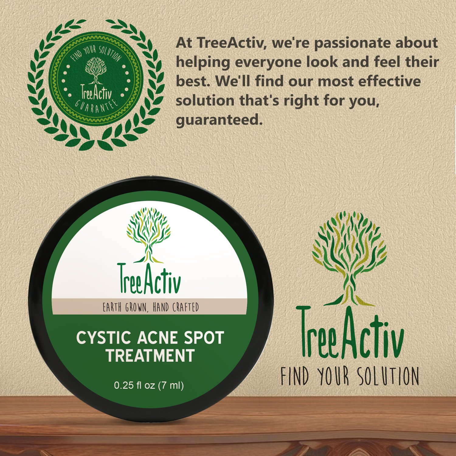 TreeActiv Cystic Acne Spot Treatment, Best Extra Strength Fast Acting Formula for Clearing Severe Acne from Face and Body, Gentle Enough for Sensitive Skin, Adults, Teens, Men, Women (0.25 Ounce) by TreeActiv (Image #6)