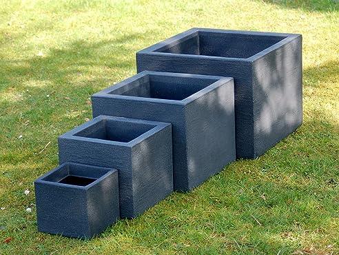Pflanzkübel 4er Set quadratisch anthrazit: Amazon.de: Garten