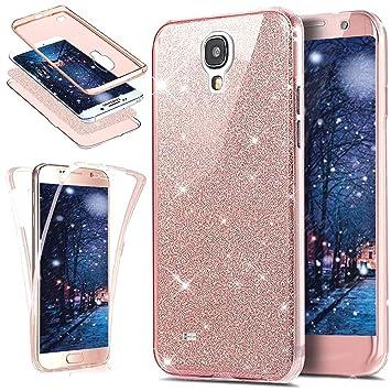 SainCat Funda Galaxy S4, Lujo Elegante Glitter y Brillante Brillo Carcasa Anti-Golpes 360 Grados Todo Incluido Carcasa 3 en 1 TPU del Ultra Delgada ...