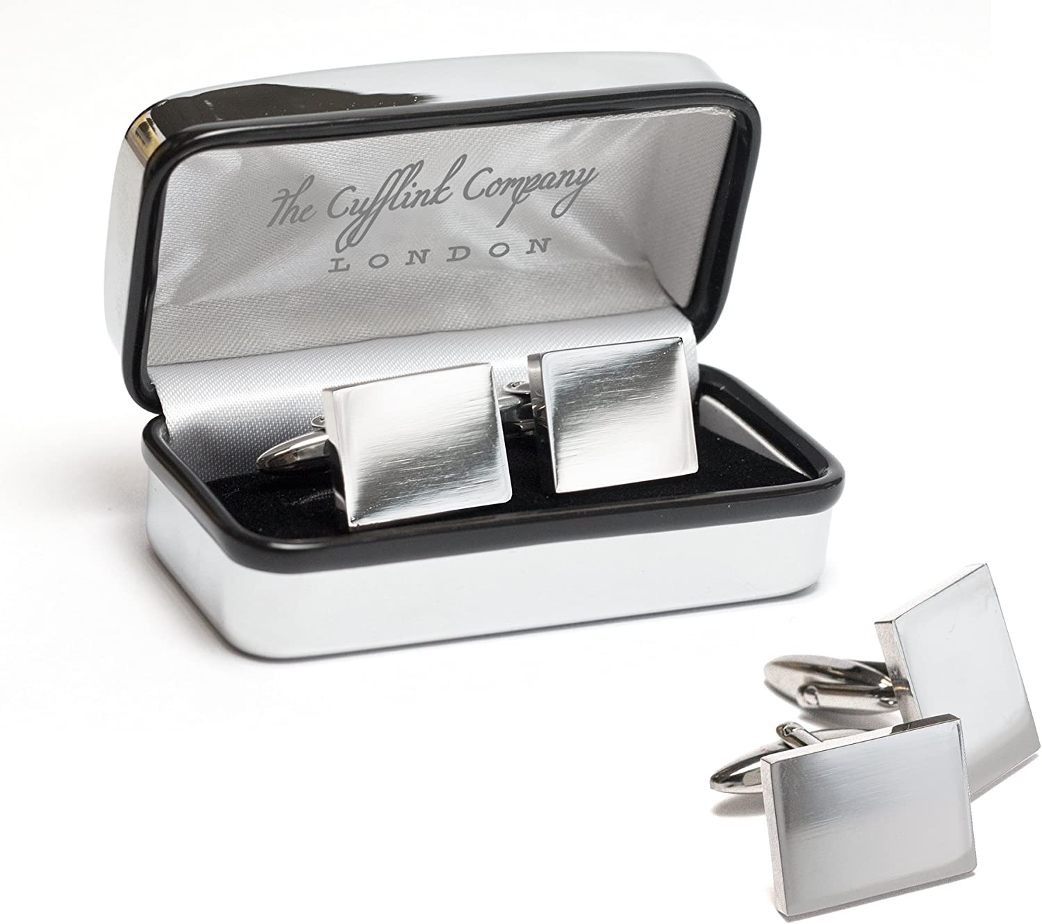 White Wedding Text Cufflinks with FREE Personalised Chrome Engraved Case