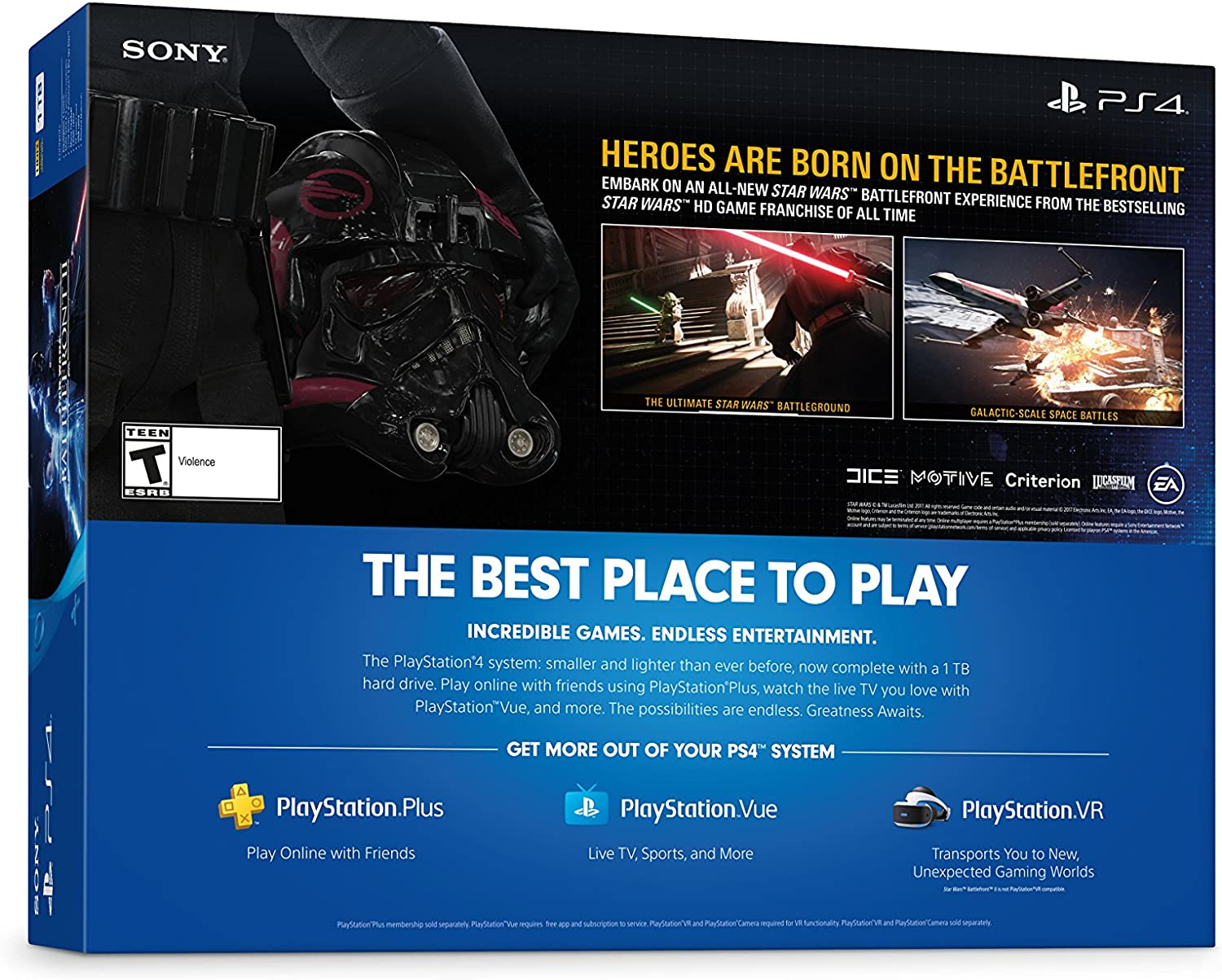 Sony PlayStation 4 Delgado Consola de 1 TB - Star Wars Battlefront II Bundle [continuado]: Amazon.es: Videojuegos