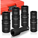 "Neiko 02282B 1/2"" Drive Impact Flip Socket Set, 5 Piece Thin Wall Set   Standard SAE and Metric Sizes - Includes 3-Inch…"