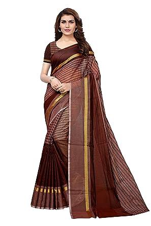 6e0cf0a7b35c18 Anni Designer Women s Kora Cotton Saree With Blouse  Amazon.in ...